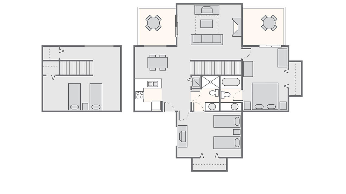 2 Bedroom with Loft 1,200  SQ FT