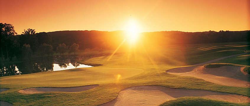 Beautiful sun set on a golf vacaton