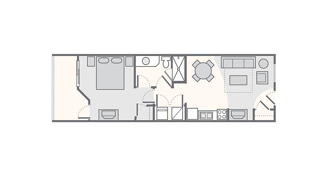 1 Bedroom 620 SQ FT