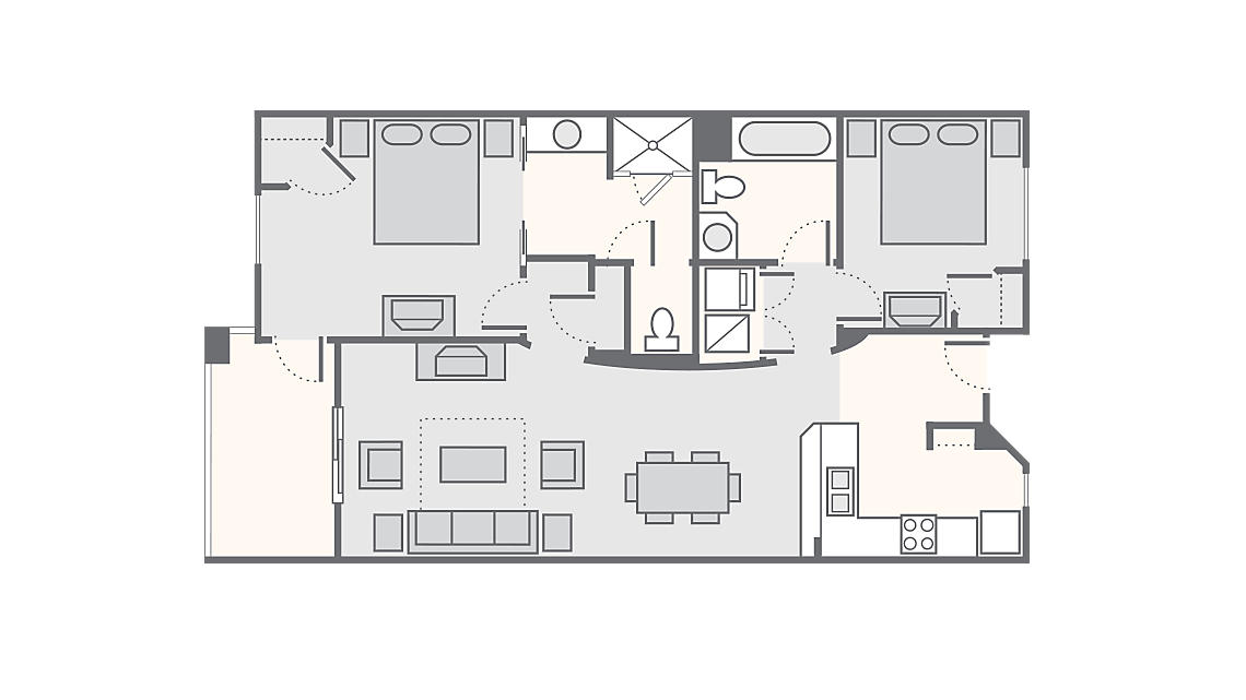 2 Bedroom 1,124 SQ FT