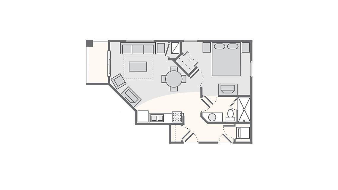 1 Bedroom Standard 590 SQ FT