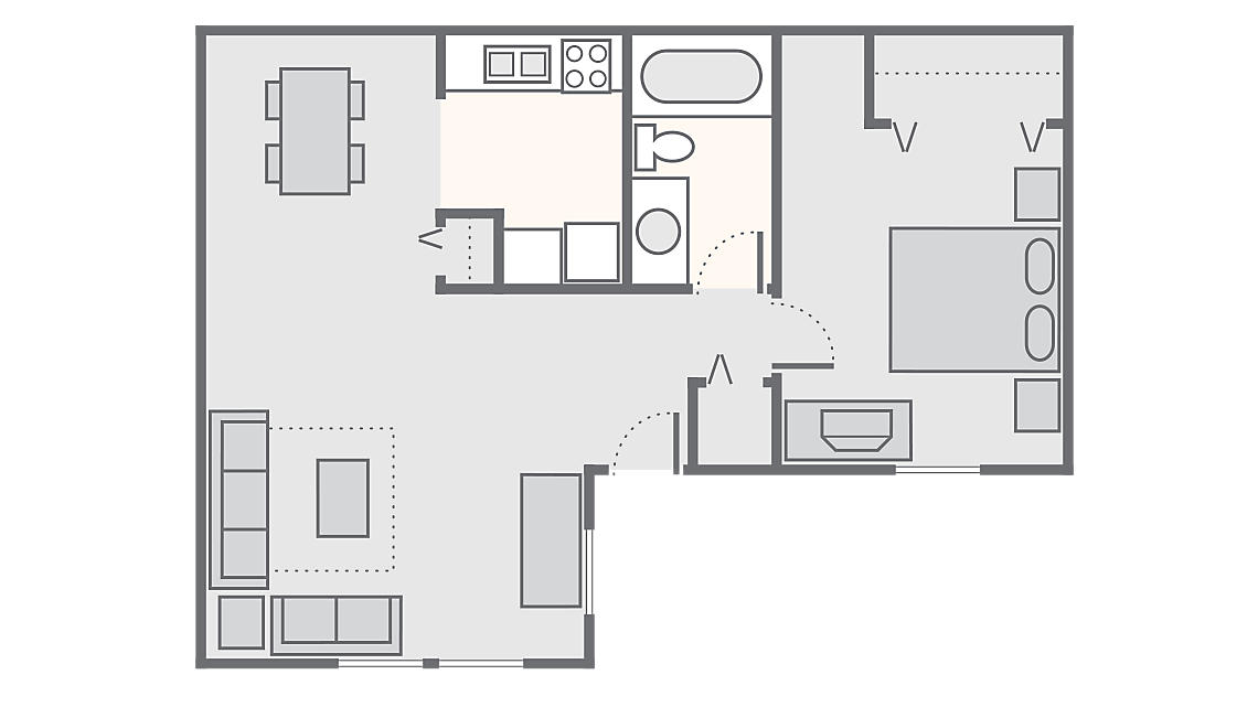 1 Bedroom 800 SQ FT a2