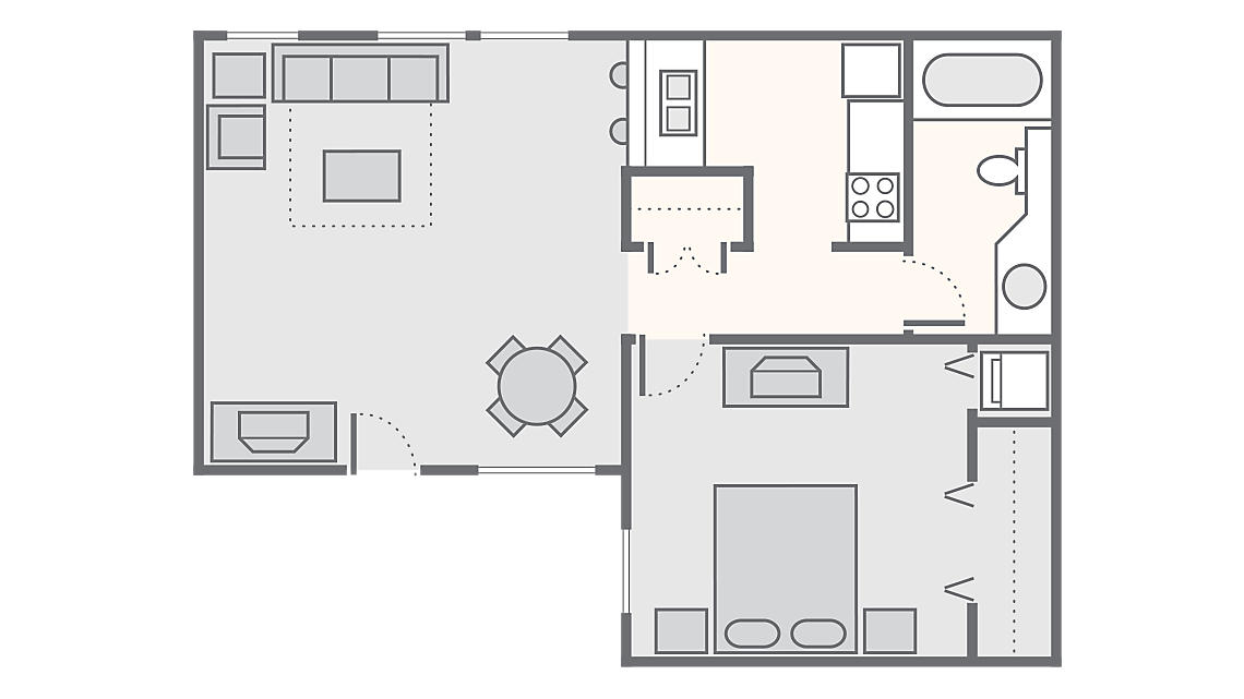 1 Bedroom 800 SQ FT a3