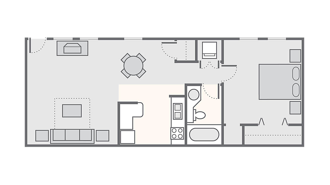 1 Bedroom 800 SQ FT a5