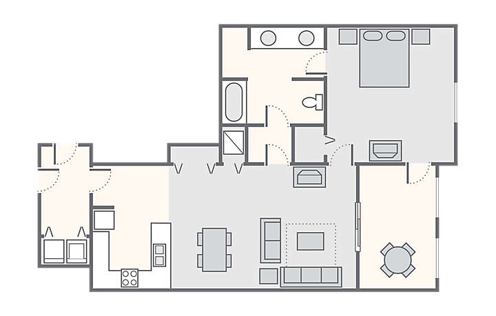 Harbour Lights™ 1 Bedroom Suite, 850 sq ft.