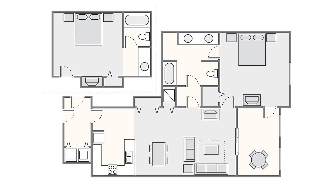 Combined 2 Bedroom Suite 1,150 SQ FT (Hotel 300 SQ FT, 1 Bedroom Suite 850 SQ FT)