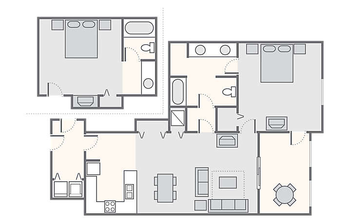 Harbour Lights™ Combined 2 Bedroom Suite, 1,150 sq ft.