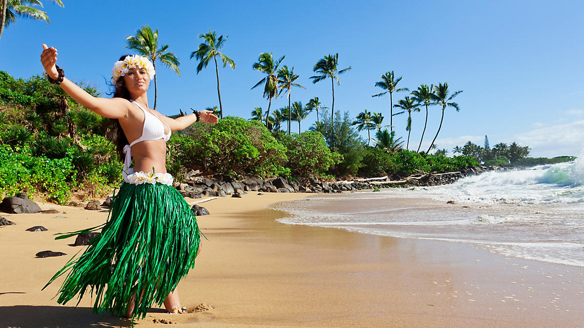 A dancer performs the Hula, Hawaii's traditional dance.