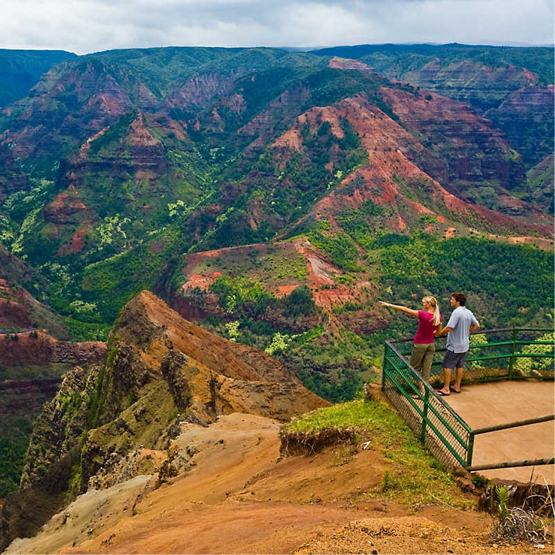 Couple on the look-out at Waimea Canyon