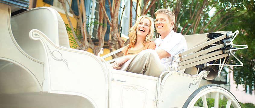 Couple in carriage visiting Charleston, South Carolina