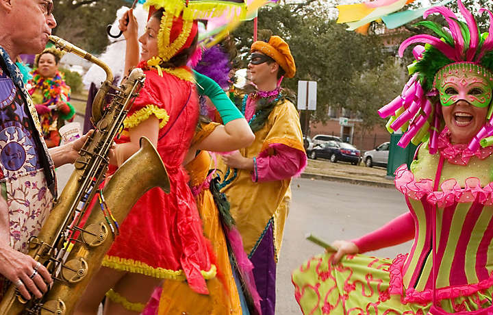 Mardi Gras Partygoers in New Orleans