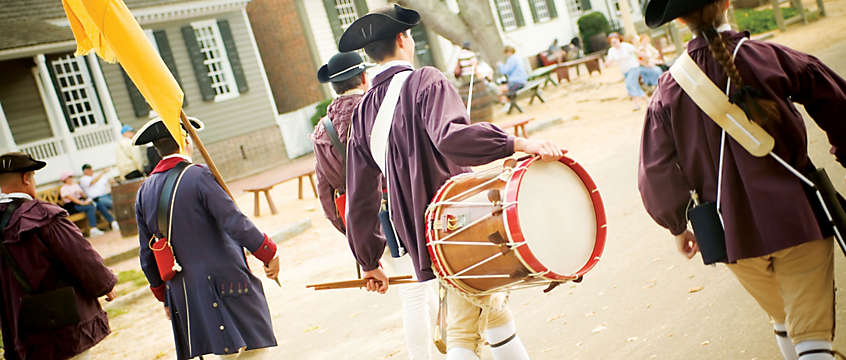 Marching with drums in Williamsburg, VA