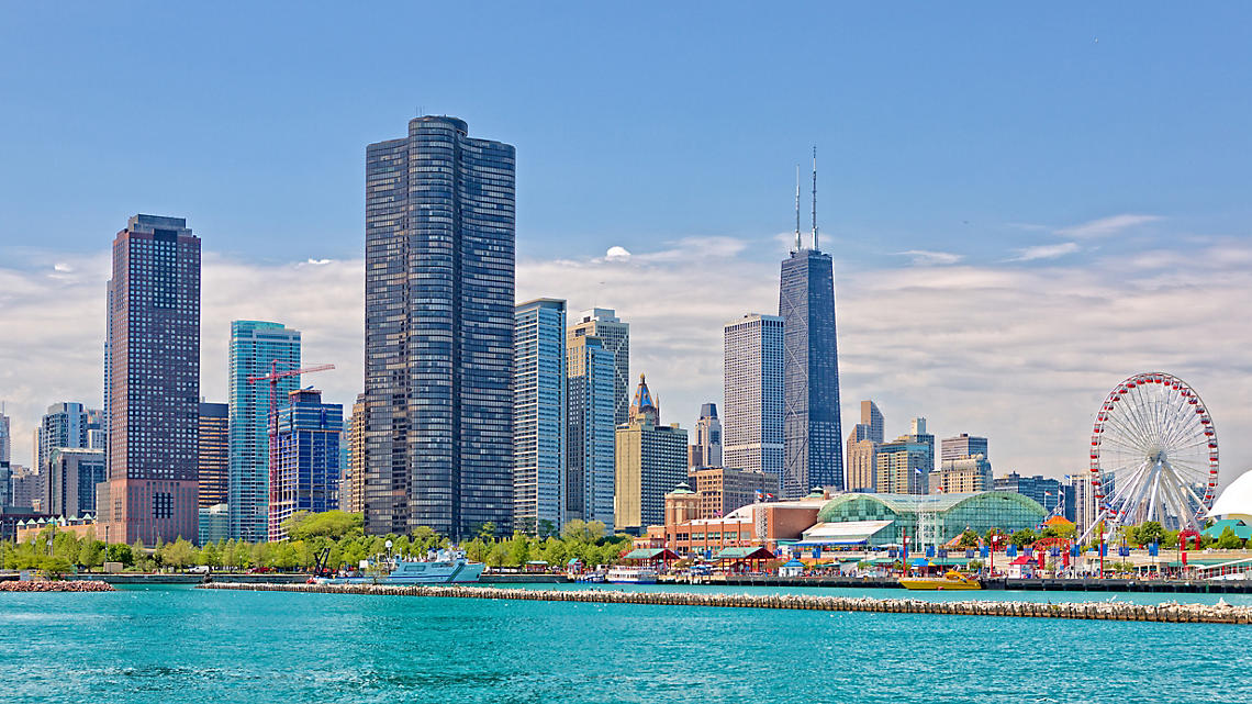 Chicago skyline from the clear blue waters of Lake Michigan