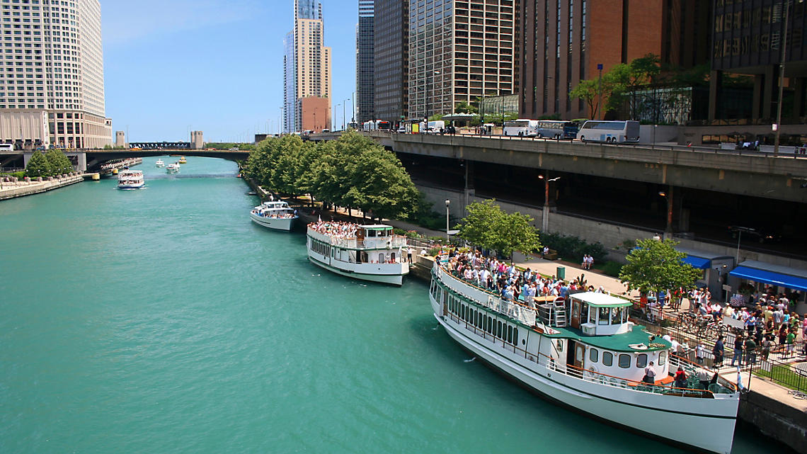 Tour boats ready for passengers on the Chicago River