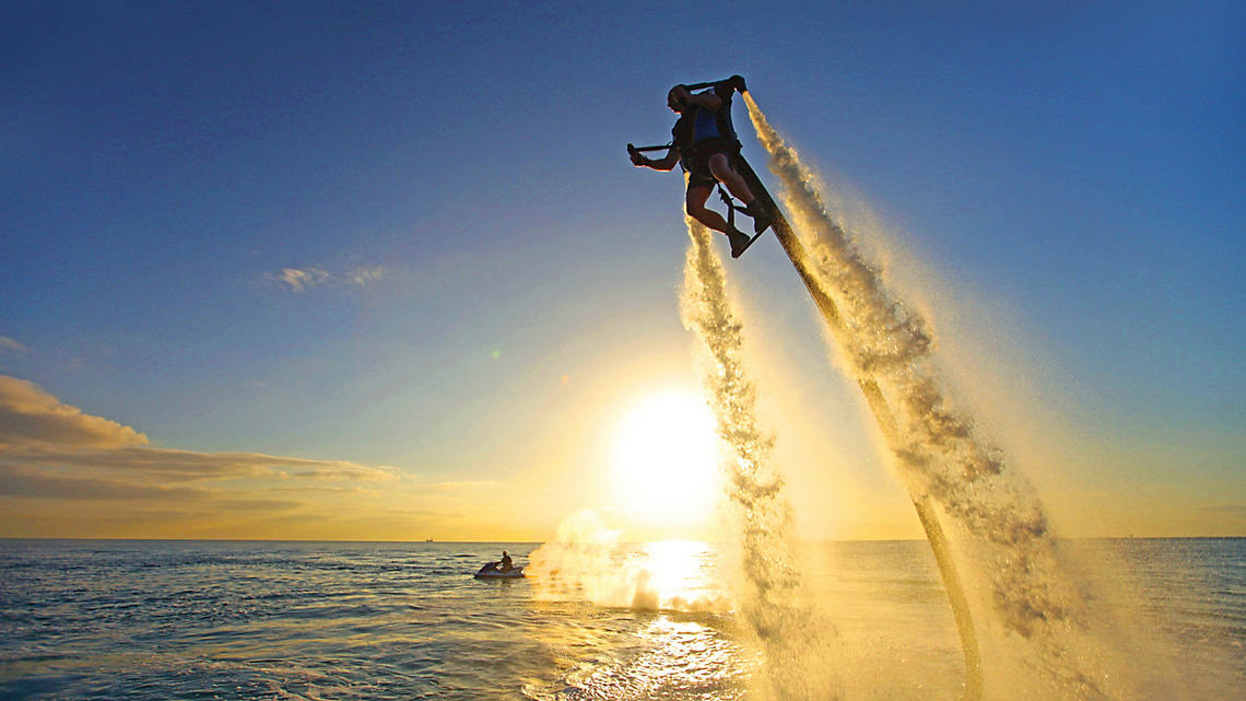 Jetpack adventure above the waters of St Petersburg