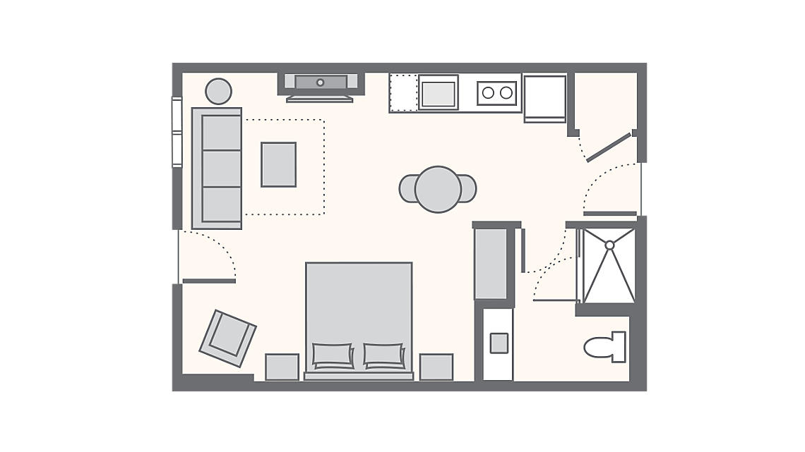 Studio Deluxe 445 SQ FT