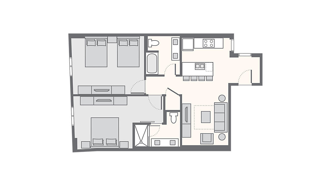 2 Bedroom Standard Villa 935 SQ FT