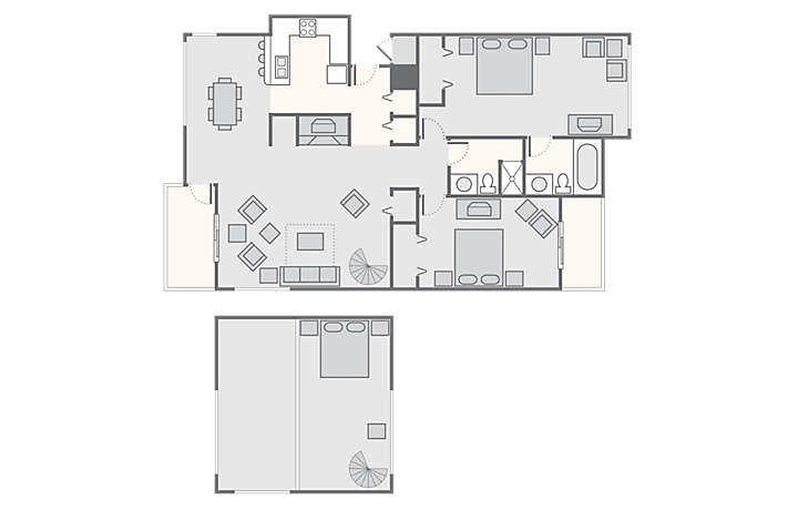 Lake Condominiums at Big Sky 2 Bedroom with Loft, 1,300 sq ft