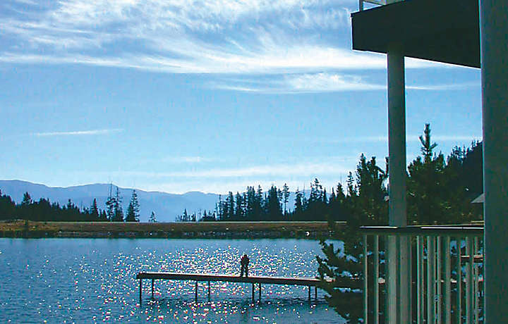 Lakefront dock and patio in Montana