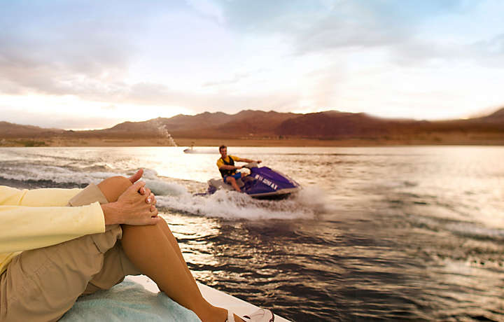 Jet skiing on the lake in Nevada