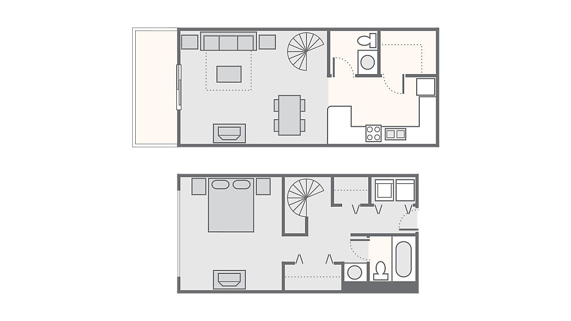 1 Bedroom 897 SQ FT