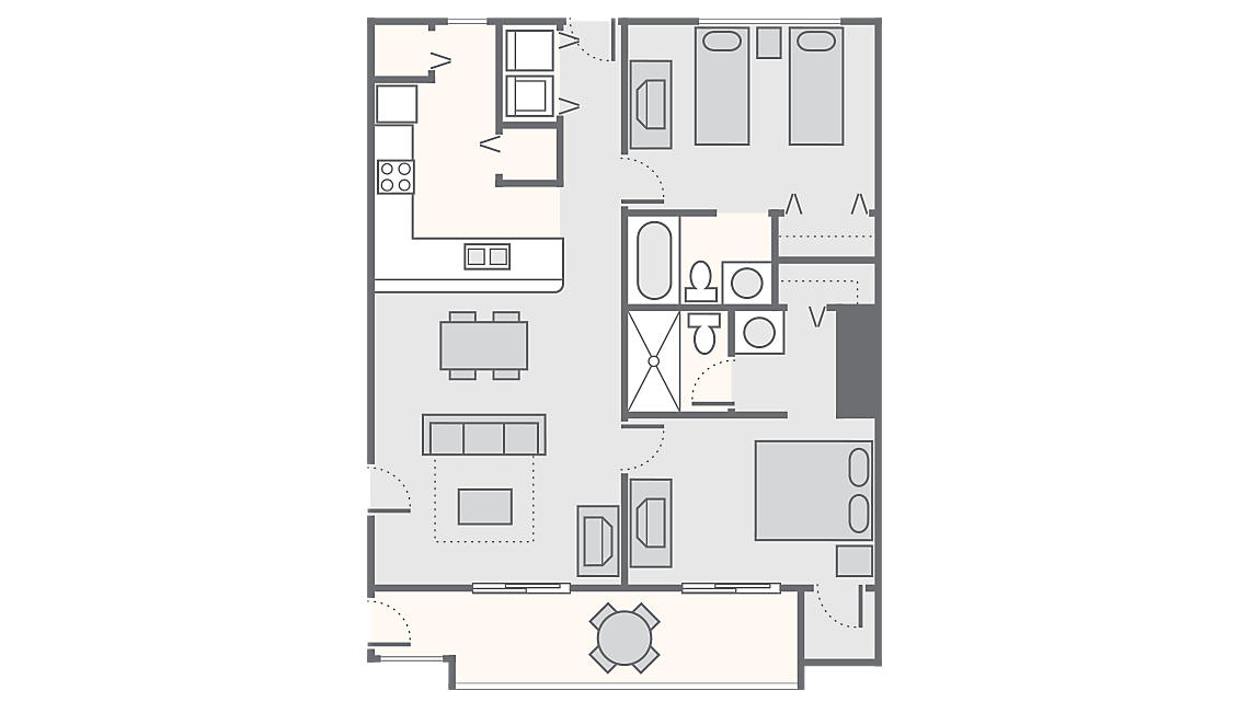 2 Bedroom 1,030 SQ FT
