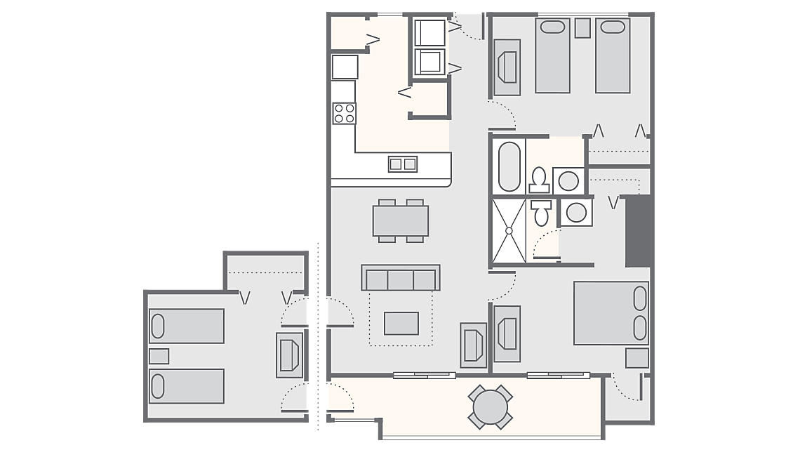3 Bedroom 1,225 SQ FT