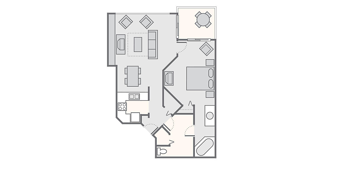 1 Bedroom Deluxe 800 SQ FT (no washer/dryer)