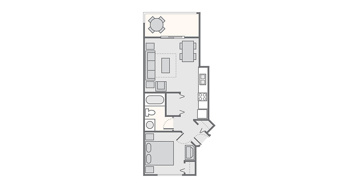 1 Bedroom Standard 494 SQ FT (no washer/dryer)