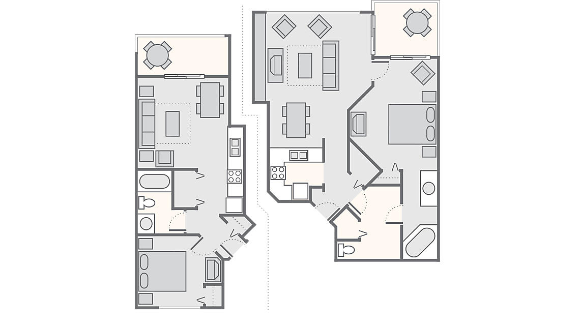 Combined 2 Bedroom 1,294 SQ FT (1 Bedroom Standard 494 SQ FT, 1 Bedroom Deluxe 800 SQ FT) no washer/dryer