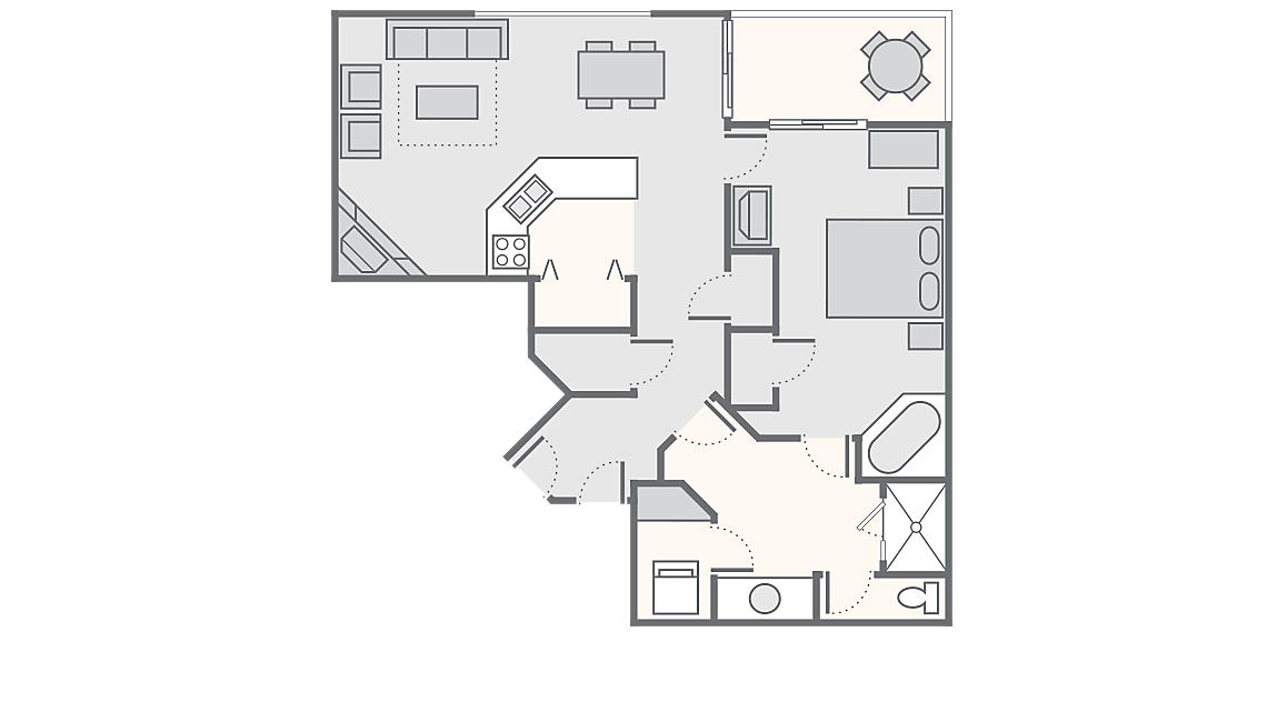 1 Bedroom Deluxe 1,012 SQ FT (includes washer/dryer)