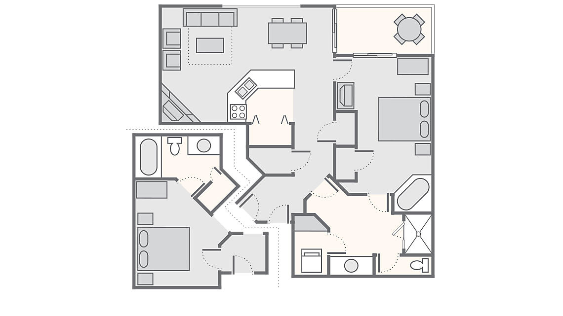 Combined 2 Bedroom 1,312 SQ FT (Hotel 300 SQ FT, 1 Bedroom Deluxe 1,012 SQ FT) 1 Bedroom Deluxe includes washer/dryer