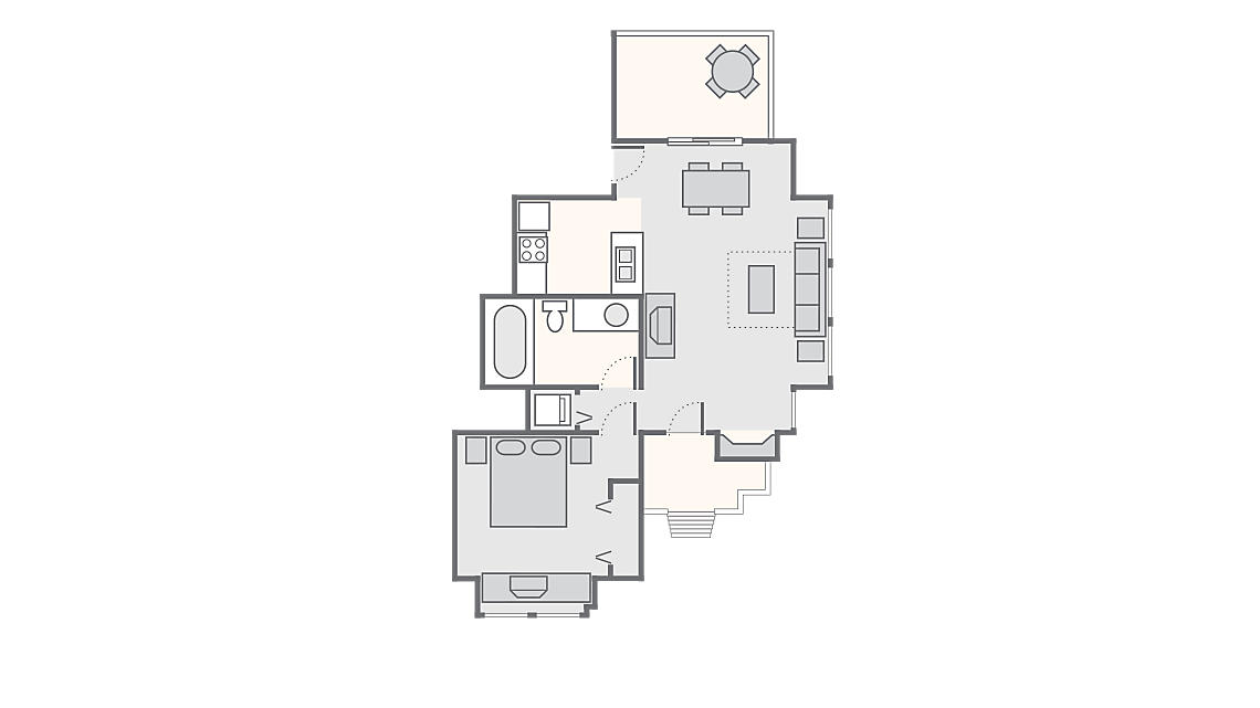 1 Bedroom Townhome 500 SQ FT (includes washer/dryer)