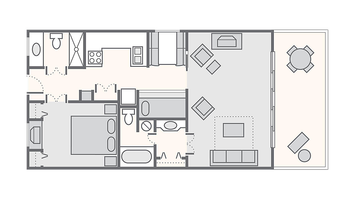 1 Bedroom 600 SQ FT