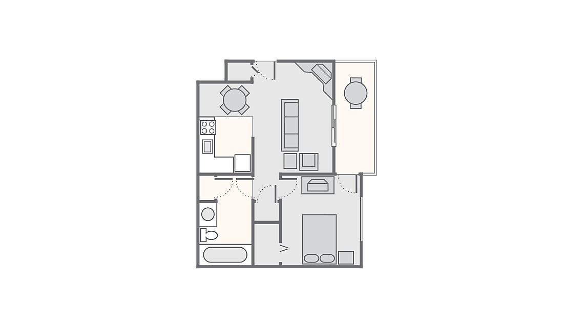 1 Bedroom 689 SQ FT