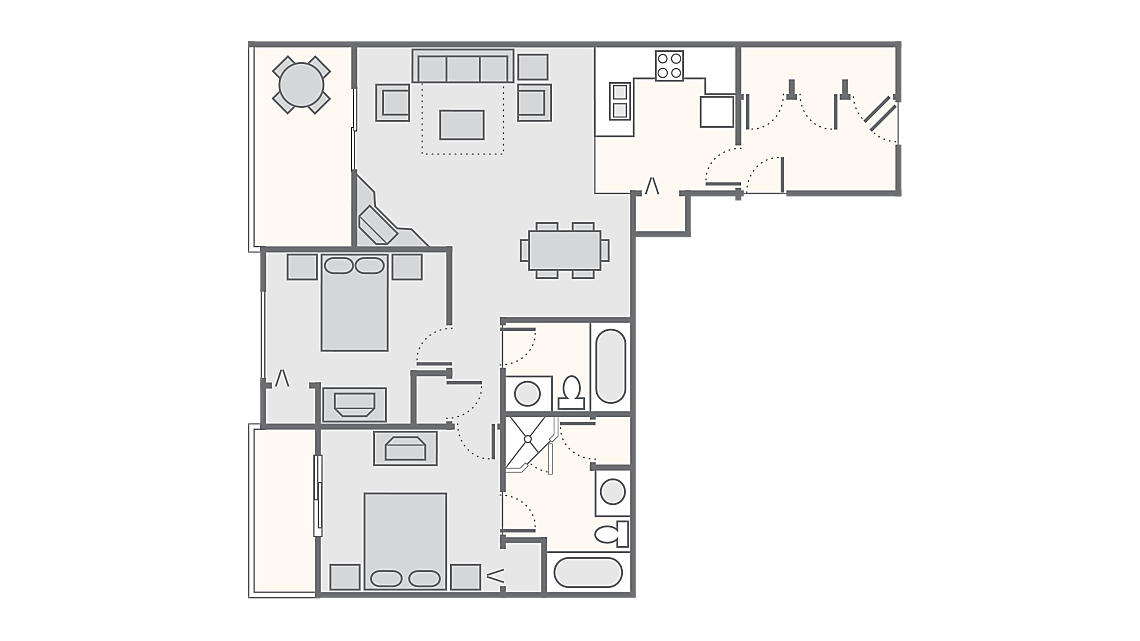2 Bedroom 1,165 SQ FT