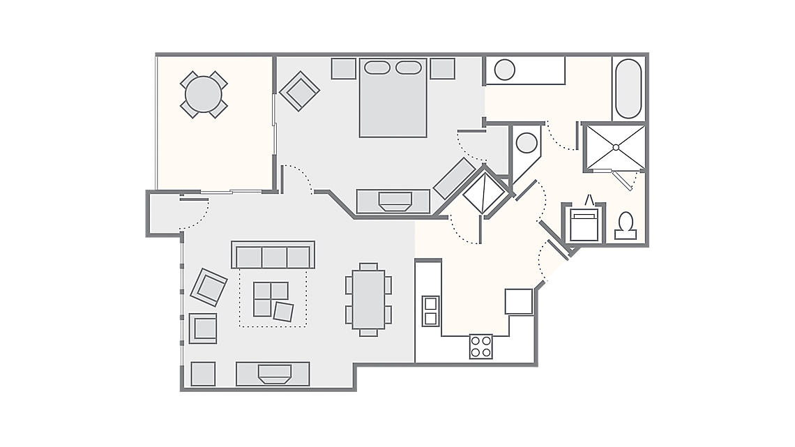 1 Bedroom Deluxe 860 SQ FT
