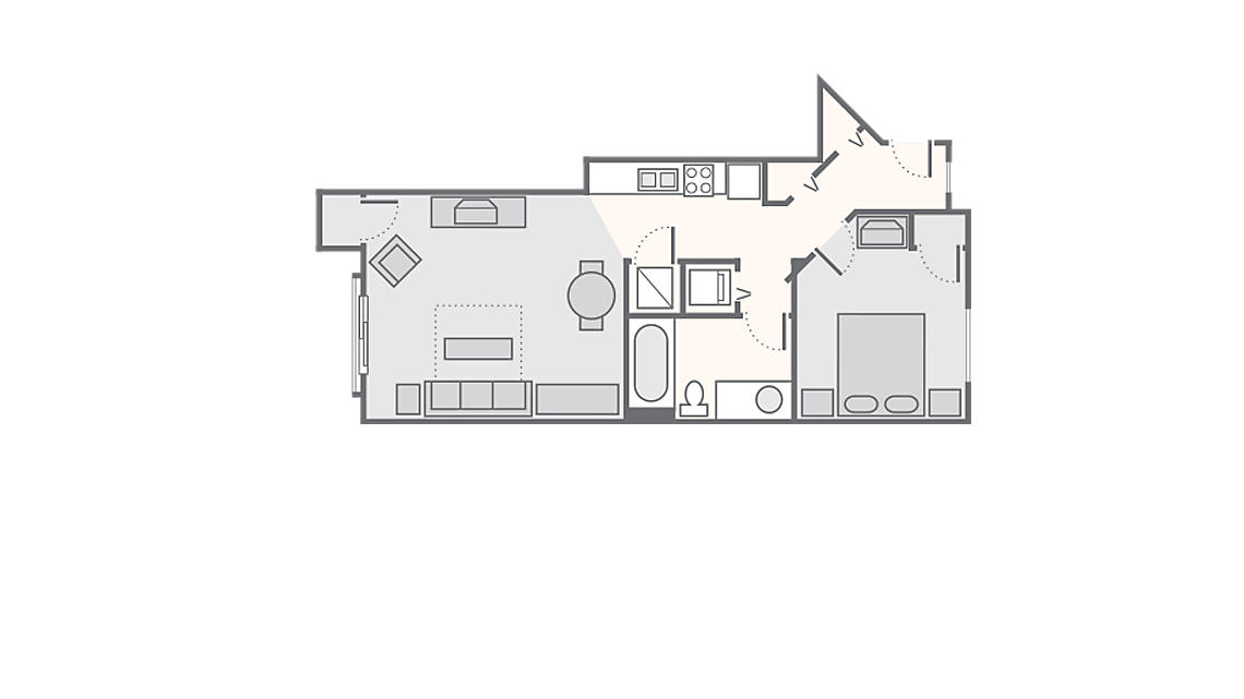 1 Bedroom Standard 500 SQ FT