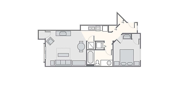 MountainLoft™ 1 Bedroom Standard, 500 sq ft.