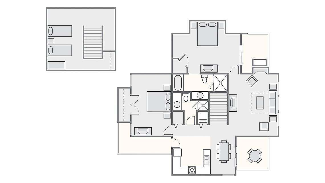 2 Bedroom Chalet with Loft 1,707 SQ FT