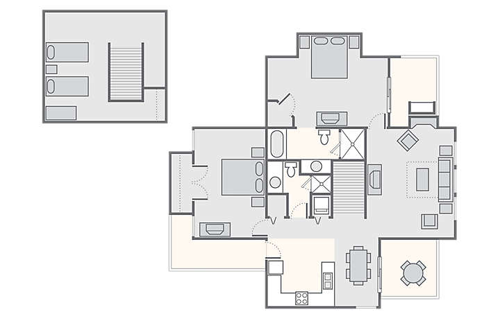 MountainLoft™ 2 Bedroom Chalet with Loft, 1,707 sq ft.