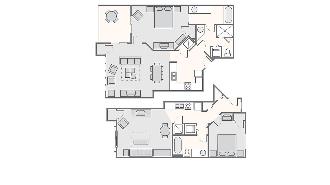 Combined 2 Bedroom 1,360 SQ FT (1 Bedroom Standard 500 SQ FT, 1 Bedroom Deluxe 860 SQ FT)
