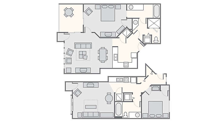 MountainLoft™ Combined 2 Bedroom, 1,360 sq ft.