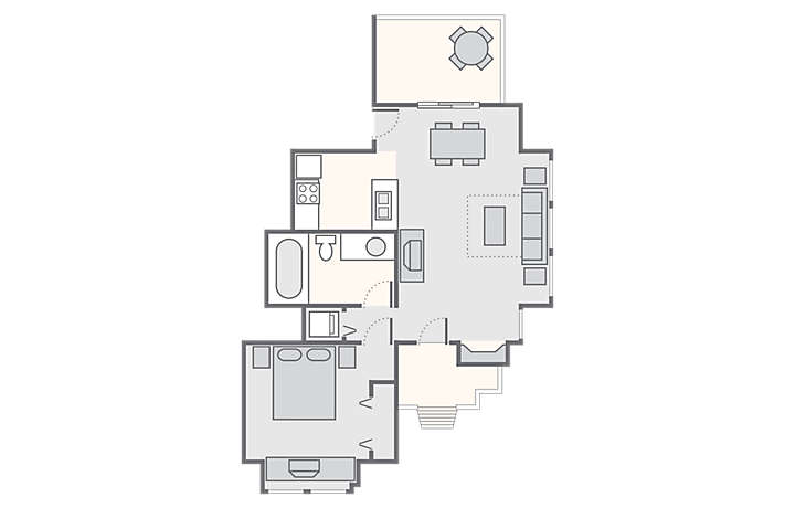 MountainLoft™ 1 Bedroom Townhome, 500 sq ft.