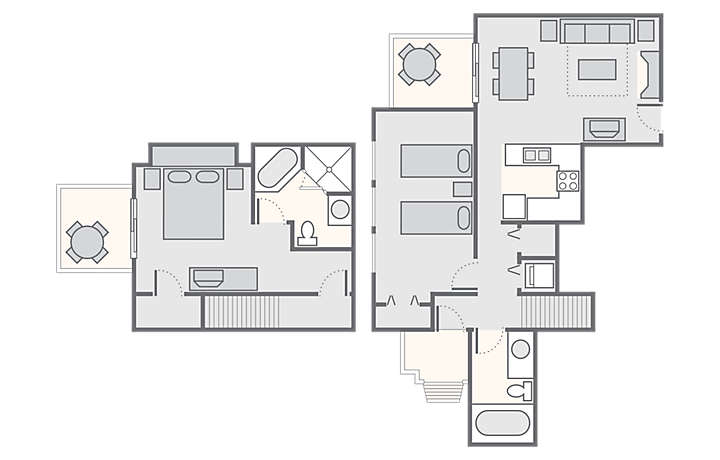 MountainLoft™ 2 Bedroom Townhome, 1,200 sq ft.