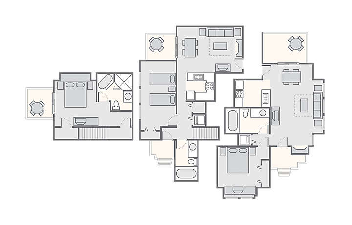 MountainLoft™ Combined 3 Bedroom Townhome, 1,700 sq ft.