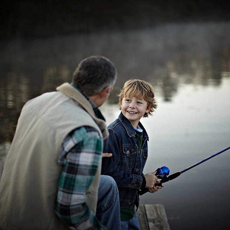 Father and son fishing at Natural Wonders