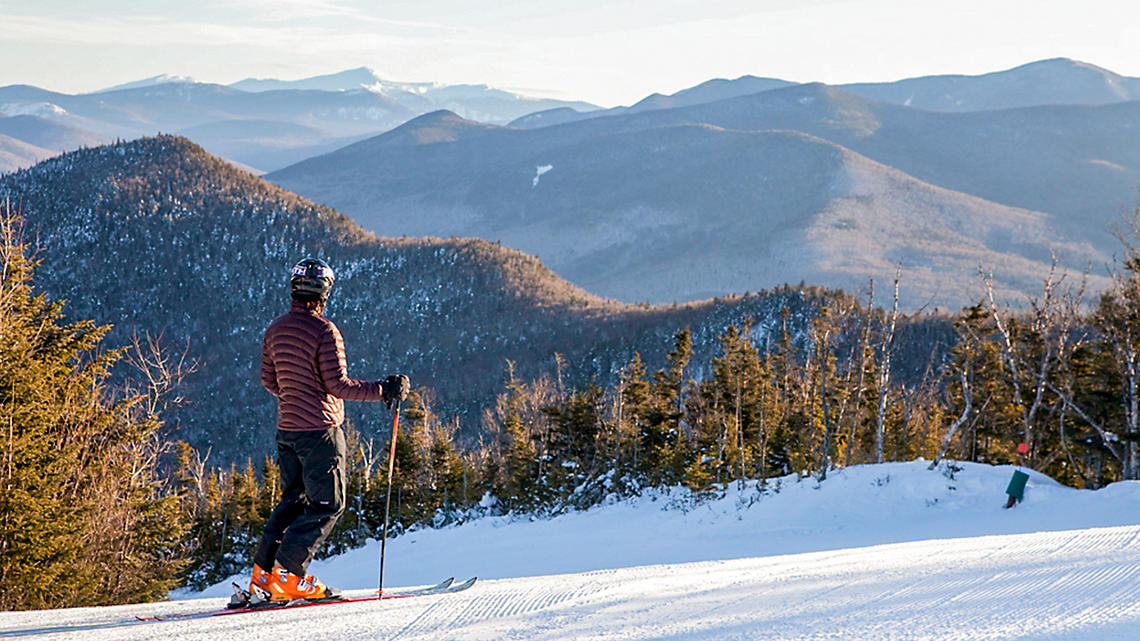 Fresh-packed snow on the peaks of the White Mountains