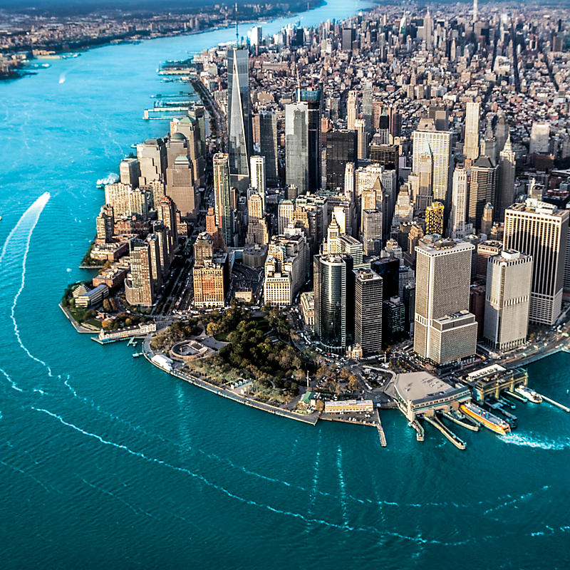 New York City aerial view of Manhattan Island