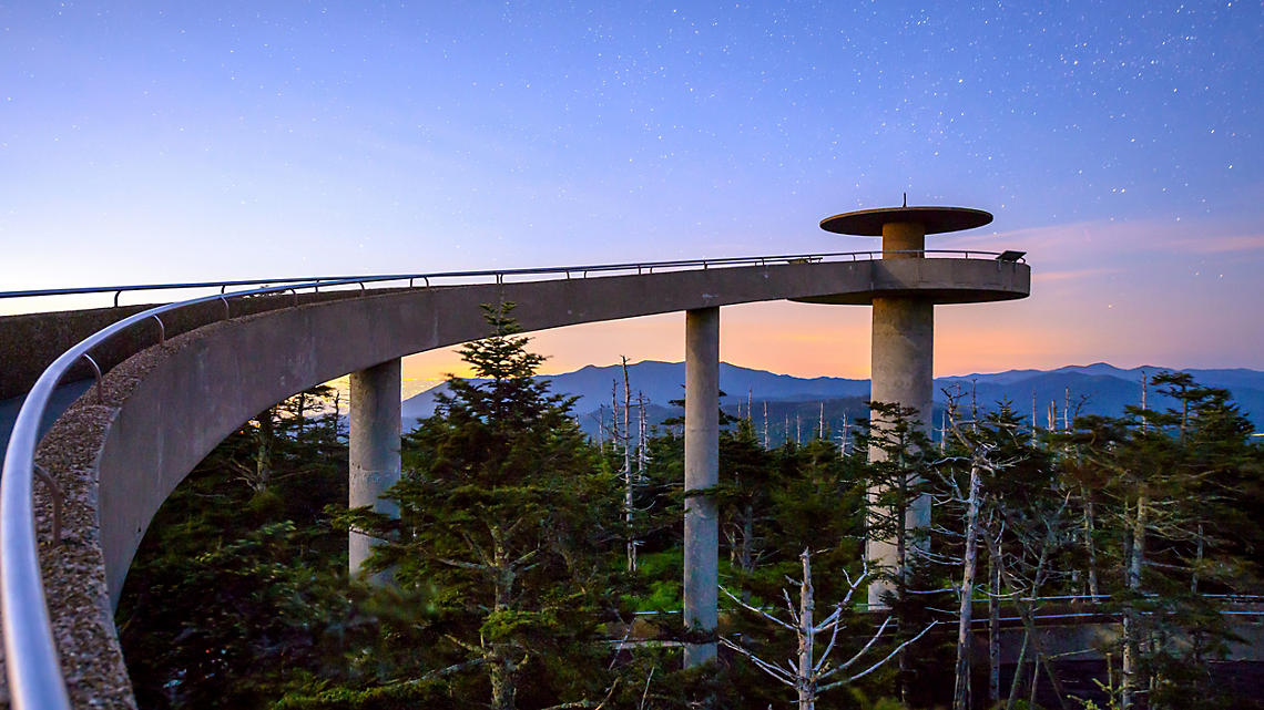 The starlit observation tower reaches far into Clingman's Dome
